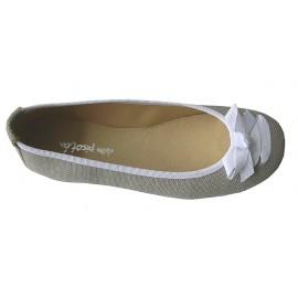 Bailarina lazo lino gris.