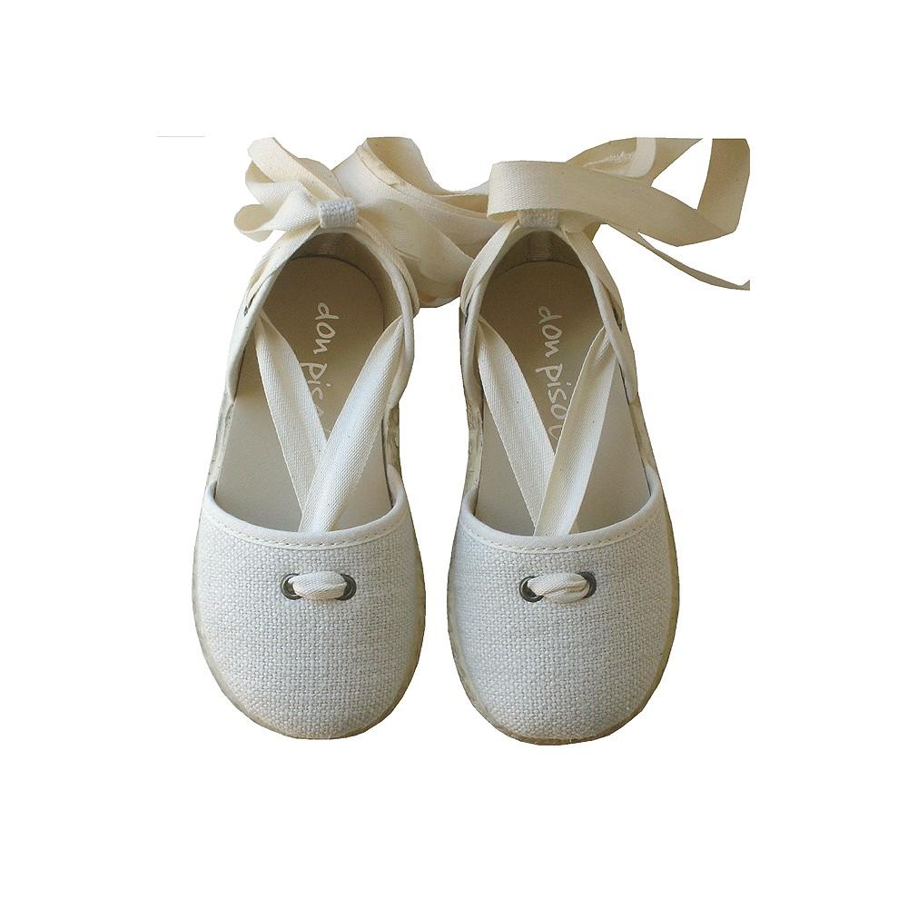 7db8e139 Alpargatas lino hueso / cintas - Calzado infantil - Zapatos para niños -  Don Pisotón