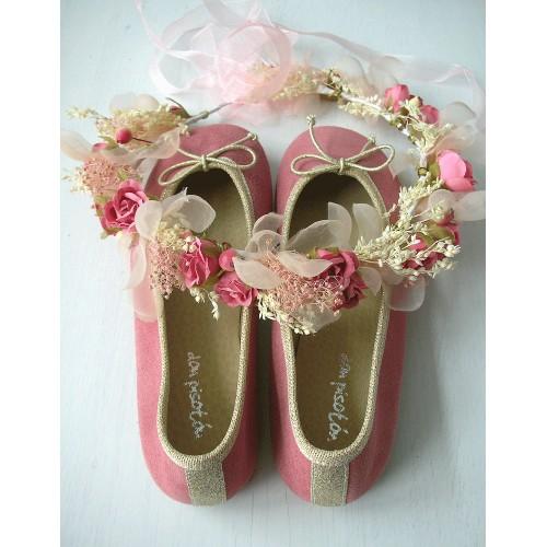 Bailarina serraje rosa y oro.