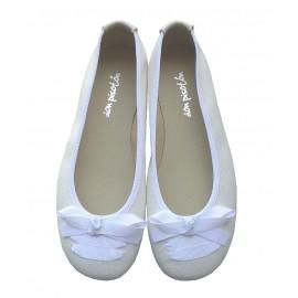 Bailarina blanca lino con lazo