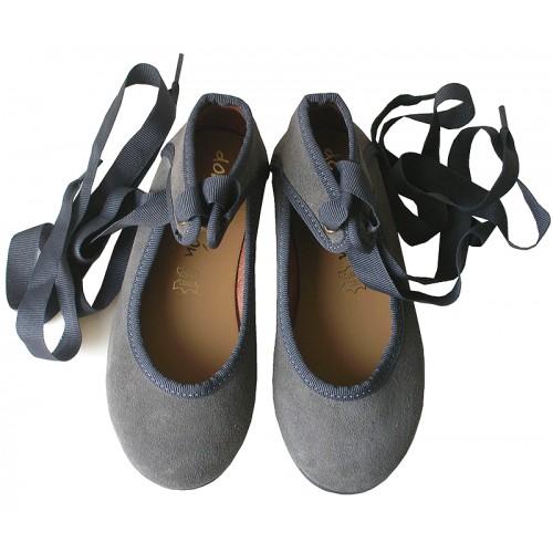 Bailarina cintas serraje gris