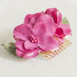 Peineta oro con flores rosa