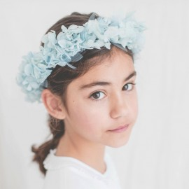 Corona de hortensias azules