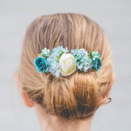 Peineta florecillas azules