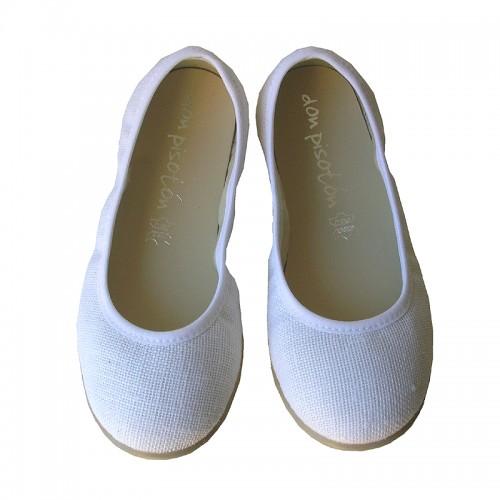 Bailarina lisa lino blanco.