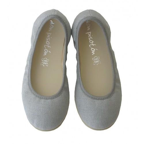Bailarina lisa lino gris.