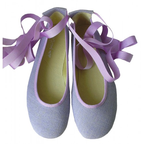 Bailarina cintas lino lila