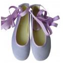 Bailarina cintas lino lavanda