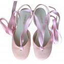 Sandalia cintas lino rosa