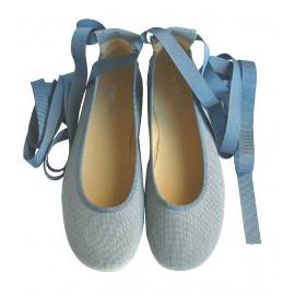 Bailarina cintas lino azul